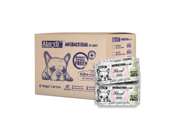[1carton=12packs] Absorb Plus Antibacterial Pet Wipes (Floral) 80pcs/pack