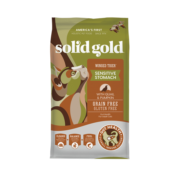Solid Gold Winged Tiger with Quail & Pumpkin Recipes Dry Food for Cats (2 sizes)
