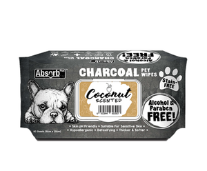 [Bundle of 3] Absorb Plus Charcoal Pet Wipes (Coconut)