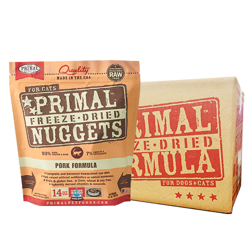[1carton] Primal Freeze Dried Feline Pork Nuggets for Cats (14oz x 4packs)