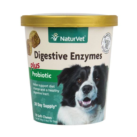 [NV-SCC-ENV] NaturVet Digestive Enzymes Plus Probiotics Soft Chews (70ct/5.4oz/154g)