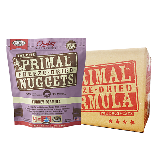 [1carton] Primal Freeze Dried Feline Turkey Nuggets for Cats (14oz x 4packs)