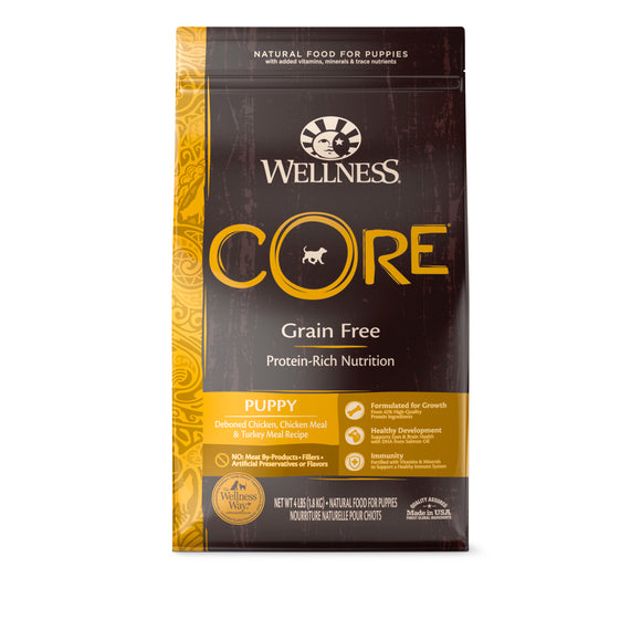 Wellness Core Grain Free Puppy (Deboned Chicken, Chicken Meal & Turkey Meal) Dry Food for Dogs (3 sizes)