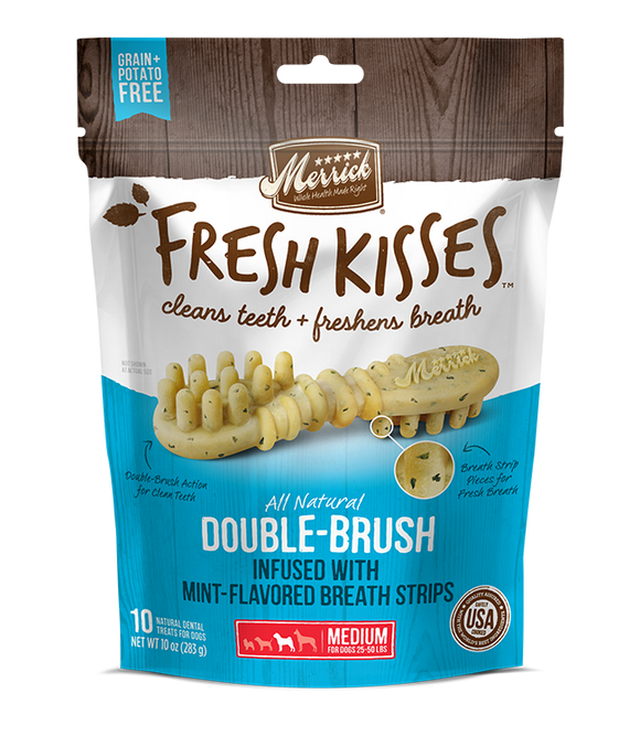 [MR-66042] [30% OFF] Merrick Fresh Kisses infused with Mint-Flavored Breath Strips (Medium Dog, 25-50lbs) (6pcs/pkt)