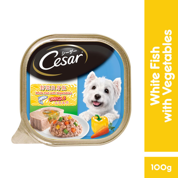 [1carton=24trays] Cesar Dog Wet Food (Whitefish with Vegetables) 100g