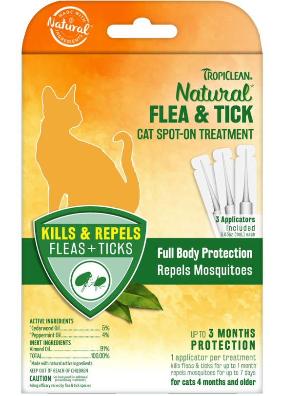 TropiClean Natural Flea and Tick Spot-On Treatment for Cats
