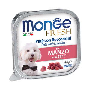 Monge Beef Pate with Chunkles Tray Dog Food (100g)