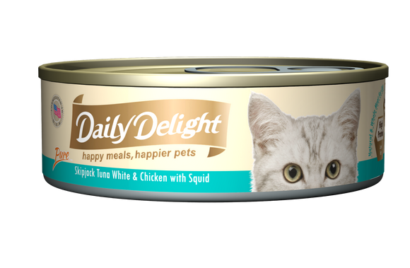 [1carton=24cans] Daily Delight Skipjack Tuna White & Chicken with Squid (80g)
