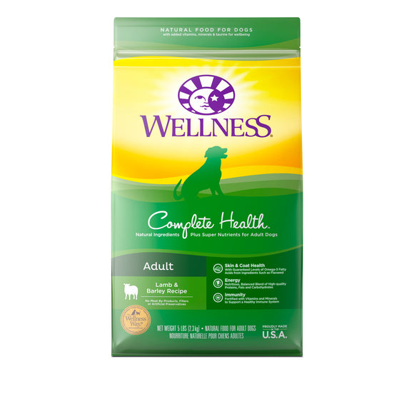 Wellness Complete Health Adult (Lamb & Barley) Dry Food for Dogs (2 sizes)