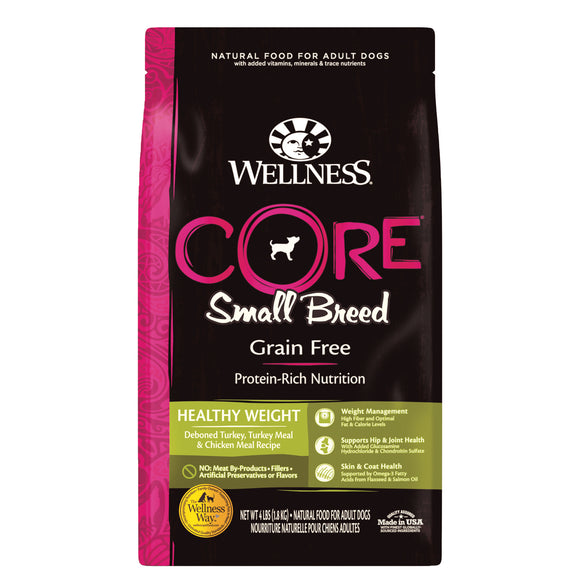 Wellness Core Grain Free Small Breed (Healthy Weight) (Deboned Turkey, Turkey Meal & Chicken Meal) Dry Food for Dogs (2 sizes)