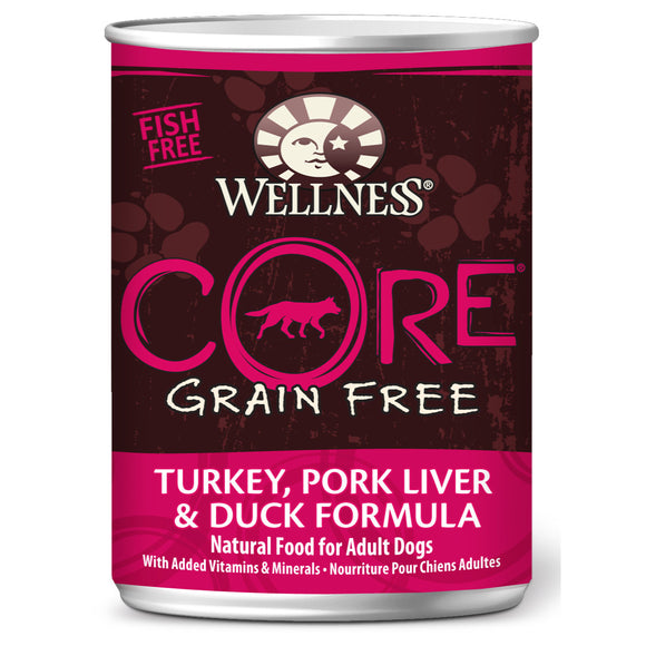 [WN-CanCoreTurk/Duck] Wellness Core Grain Free Turkey, Pork Liver & Duck Canned Dog Food (12.5oz)