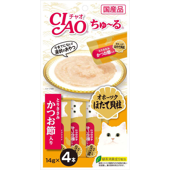 [CIS102] CIAO Chu Ru Chicken Fillet Scallop & Sliced Bonito for Cats (14gx4)