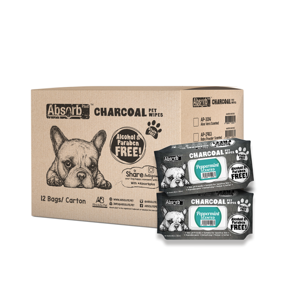 [1carton=12packs] Absorb Plus Charcoal Pet Wipes (Peppermint) 80pcs/pack