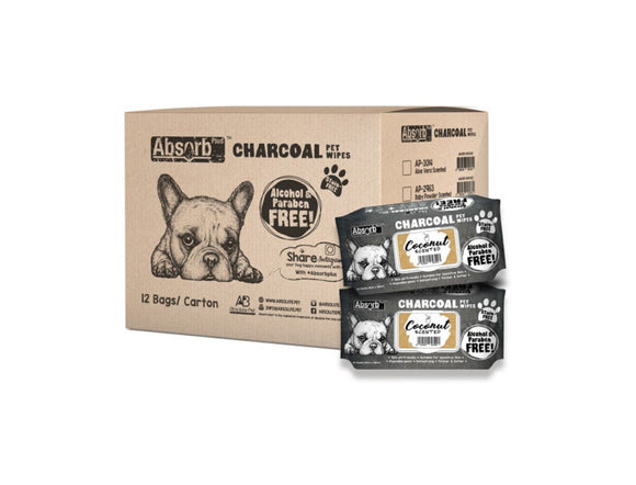 [1carton=12packs] Absorb Plus Charcoal Pet Wipes (Coconut) 80pcs/pack