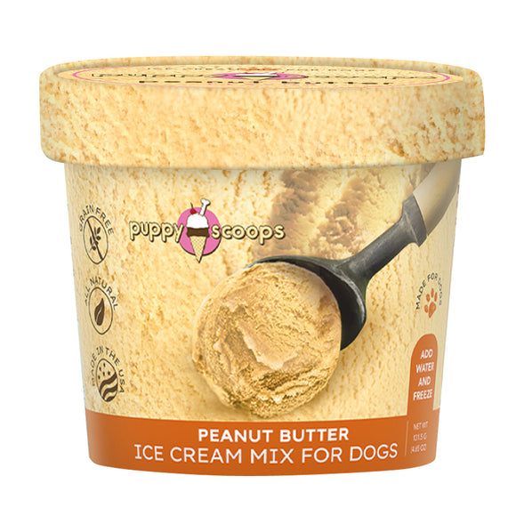 Puppy Scoops Freezerless Ice Cream Mix for Dogs (Peanut Butter) 2 sizes