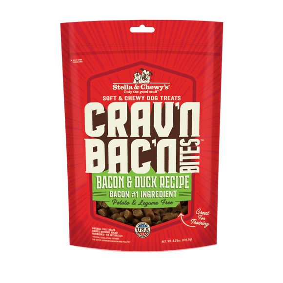 Stella & Chewy's Crav'n Bac'n Bites Bacon & Duck Recipes Treats for Dogs (8.25oz)