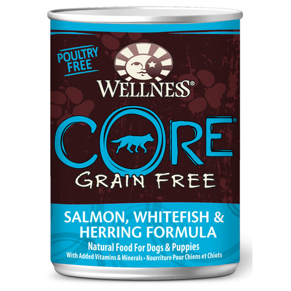 [WN-CanCoreOcn] Wellness Core Grain Free Whitefish, Salmon & Herring Canned Dog Food (12.5oz)