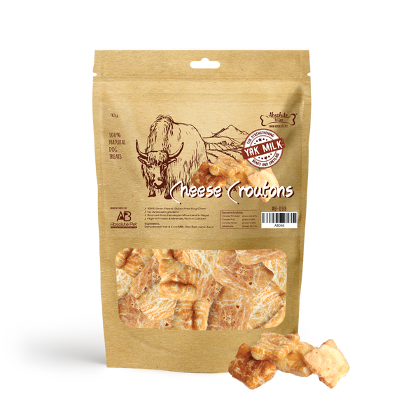 Absolute Bites 100% Natural Himalayan Yak Cheese Dog Treats (Cheese Croutons) for Dogs (2 sizes)