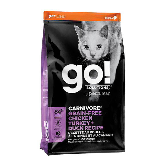 Petcurean Go! Carnivore Grain Free Chicken, Turkey + Duck Recipes Dry Food for Cats (2 sizes)