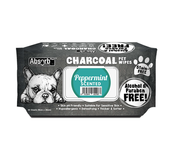 [Bundle of 3] Absorb Plus Charcoal Pet Wipes (Peppermint)