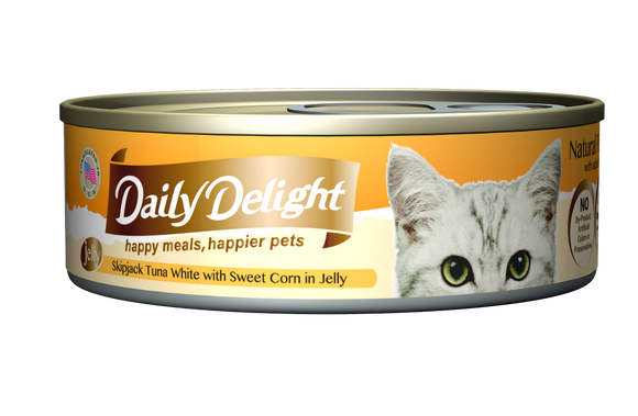 [1carton=24cans] Daily Delight Skipjack Tuna White with Sweet Corn in Jelly (80g)