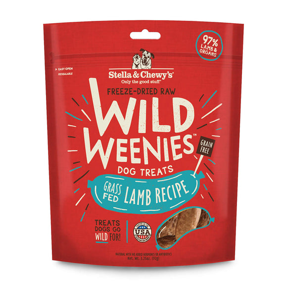[SC-WW-LM-3.25] Stella & Chewy's Freeze-Dried Raw Wild Weenies Treats for Dogs (Grass-Fed Lamb) 3.25oz