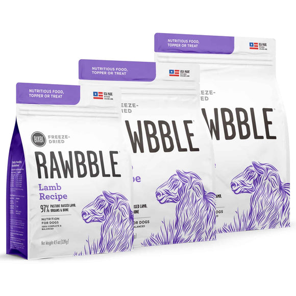 Bixbi Rawbble Grain Free Lamb Limited Ingredient Freeze Dried Dog Food/Toppers/Treats (3 sizes)