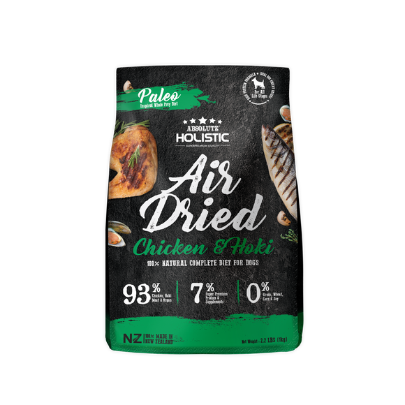 Absolute Holistic Air Dried Dry Food (Chicken & Hoki) for Dogs (1kg)