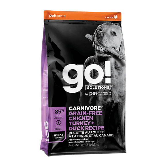 [GO-513] Petcurean Go! Dry Food (Chicken, Turkey & Duck Senior Recipes) for Dogs (3.5lbs/1.5kg)