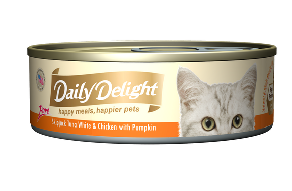 [1carton=24cans] Daily Delight Skipjack Tuna White & Chicken with Pumpkin (80g)