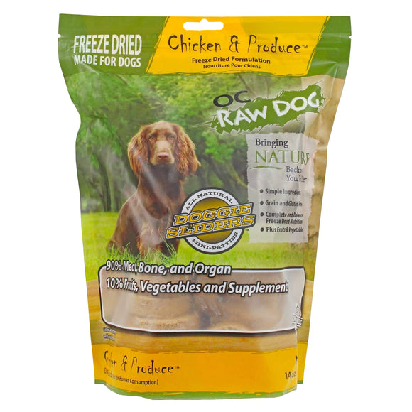 OC Raw Dog Chicken & Produce Sliders Freeze-Dried Food for Dogs (14oz)