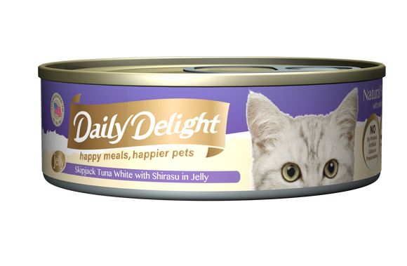 [1carton=24cans] Daily Delight Skipjack Tuna White with Shirasu in Jelly (80g)