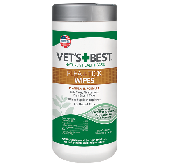 [VB-0459] Vet's Best Flea and Tick Wipes for Dogs and Cats (50pcs)