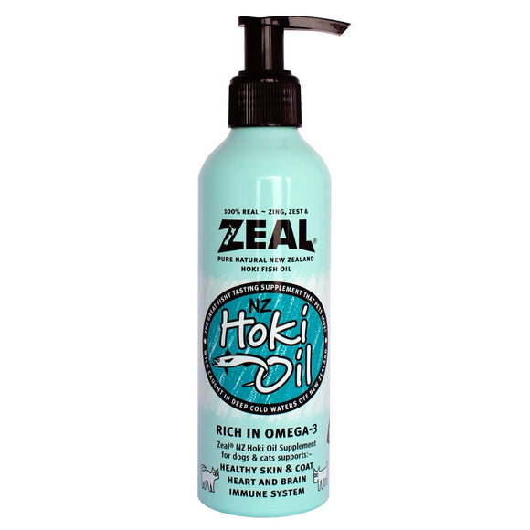 ZEAL 100% Natural Hoki Fish Oil Supplement for Dogs & Cats (225ml)