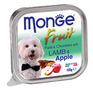 Monge Lamb & Apple Pate with Chunkles Tray Dog Food (100g)
