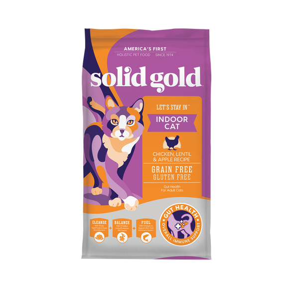 Solid Gold Let's Stay in Indoor Chicken, Lentils & Apple Recipes Dry Food for Cats (3 sizes)