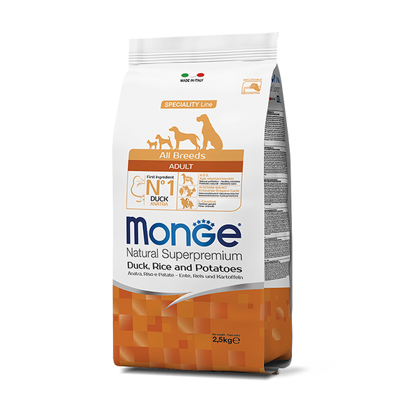 [MC-1129] Monge Natural Superpremium Adult Duck, Rice & Potatoes Recipes Dry Food for Dogs (2.5kg)