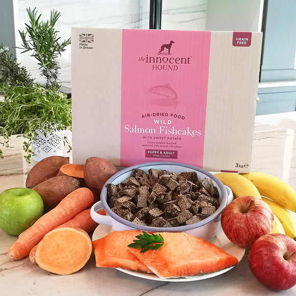 [1114] The Innocent Pet | The Innocent Hound Wild Salmon Fishcakes Air-dried Complete Food for Dogs (3kg)