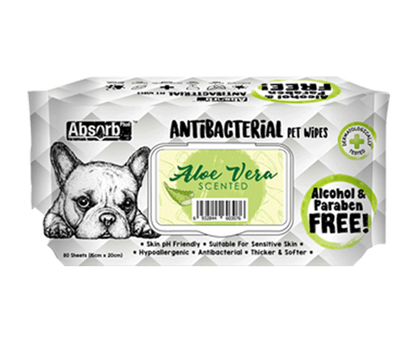 [Bundle of 3] Absorb Plus Antibacterial Pet Wipes (Aloe Vera)
