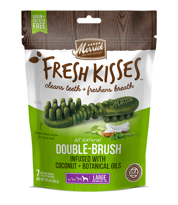 [MR-66023] [30% OFF] Merrick Fresh Kisses infused with Coconut + Botanical Oils Breath Strips (Large Dog, 50+lbs) (4pcs/pkt)