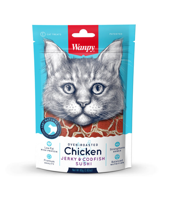 [WP-305] Wanpy Oven Roasted Chicken & Cod Fish Sushi Cat Treats (80g)