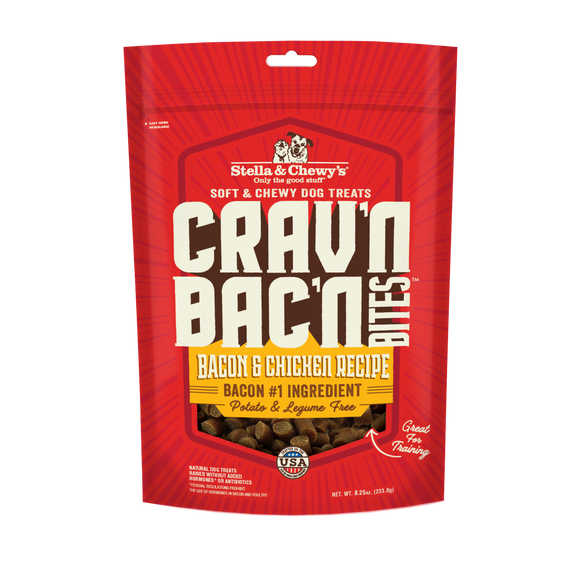 Stella & Chewy's Crav'n Bac'n Bites Bacon & Chicken Recipes Treats for Dogs (8.25oz)