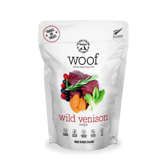 NZ Natural WOOF Freeze Dried Raw Food (Wild Venison) 3 sizes