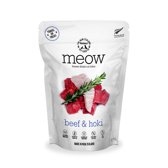 NZ Natural MEOW Freeze Dried Raw Food for Cats (Beef & Hoki) 2 sizes