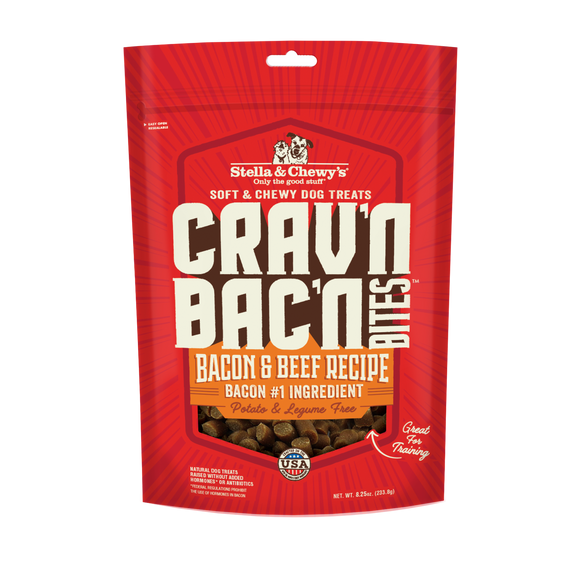 Stella & Chewy's Crav'n Bac'n Bites Bacon & Beef Recipes Treats for Dogs (8.25oz)