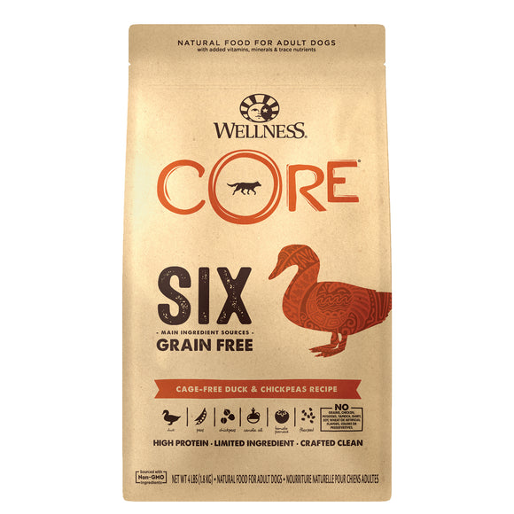 Wellness Core Six Grain Free Cage-Free Duck & Chickpeas Recipe (2 sizes)