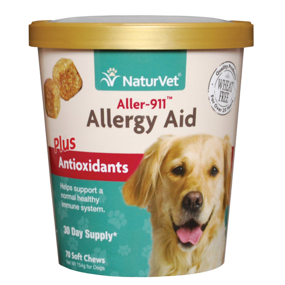 [NV-SCC-AA] NaturVet Aller-911 Allergy Aid Plus Antioxidants Soft Chew (70ct/5.4oz/154g)