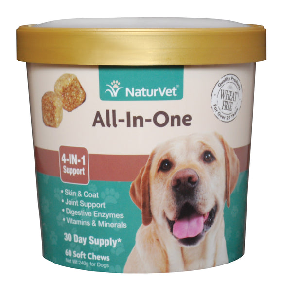 [NV-SCC-AIO] [20% off] NaturVet All-In-One (4-in-1 Support) Soft Chews (60ct/8.4oz/240g)