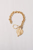 22 kt Matte Gold Over Sterling Silver Chain Bracelet with Pendant