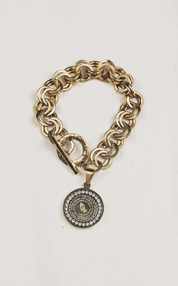 Serenity Prayer Gold Crystal Bracelet